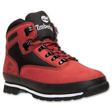 $110 New Mens Timberland Euro Hiker Red Black Winter Lifestyle Boots NIB