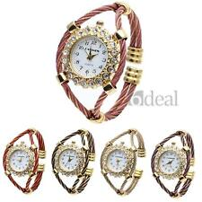 Women Lady Quartz Bracelet Bangle Wrist Watch Rhinestone Flower Shape Dial