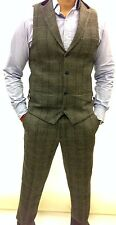 Mens Designer Marc Darcy Tweed Herringbone Checked Vintage Waistcoat Trouser Set