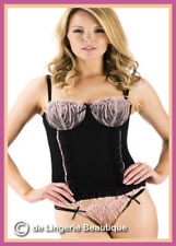 Sexy Lingerie Ladies Black/Pink Basque Corset Set with Knickers Size 32B - 38DD