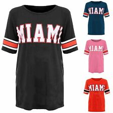 Womens Ladies 18 Print Miami Baggy Jersey Oversized Varsity Stripe T-Shirt Top