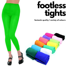 FOOTLESS TIGHTS Womens Full Length Stretch Plain Basic Soft Sexy Pantyhose New