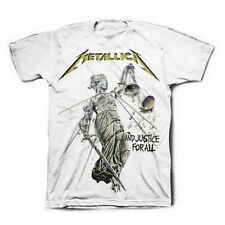 METALLICA Justice For All White T-Shirt New Authentic Rock Metal S M L XL XXL