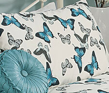 Teal Turquoise Butterfly Duvet Cover Set Size: Single Double King