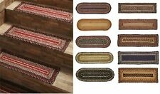SET of 16 Braided Jute Stair Treads Tread Rugs Rug Oval or Rectangle 24 COLORS