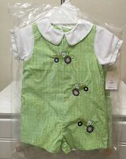 NEW PETIT AMI BABY BOYS GREEN TRACTOR SHORTALL ROMPER OUTFIT SIZES 3M 6M 9M
