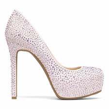 JESSICA SIMPSON REBECA PLATFORM IVORY NUDE CRYSTALIZED RHINESTONE EVENING PUMPS