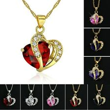 Gold/Silver Plated Necklace Rhinestone Crystal Heart Amethyst Swarovski Pendant