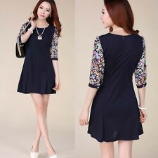 2015 New Casual Spring Korean Womens Chiffon Round Collar Floral Slim Dress