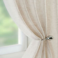 LINEN Rich Curtain Voile Panel Natural Beige  ALL SIZES Extra WIDE Extra Long