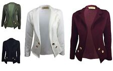 WOMENS QUILTED LONG SLEEVE BUTTON DETAIL BLAZER TOP LADIES JACKET PLUS SIZE16-24