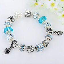 Colourful European Style Charm Silver Murano Glass Beads Bracelet Birthday gift