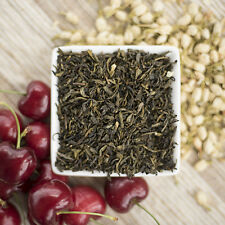 Cherry Jasmine Green Tea Organic available in loose leaf, tea bags, ice tea brew