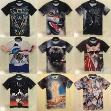 Fashion Men Women Sexy Funny 3D Animals Print Space Galaxy Round Top Tee T Shirt