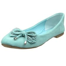 Womens Ballet Flats Studded Bow Tassel Accent Faux Suede Shoes Mint