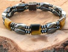 Men's Magnetic Hematite Bracelet Anklet Twist Disc Tiger Eye STRONG Clasp 2 row