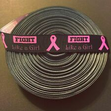 "7/8"" Fight Like A Girl Grosgrain Ribbon by the Yard (USA SELLER!)"