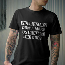 Video Games Don't Make Us Violent Lag Does Gamer Black And White T-shirt