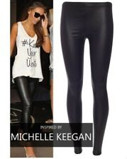 NEW WOMENS LADIES CELEBRITY LEATHERETTE WET LOOK SHINY LEGGINGS PLUS SIZE 8-24