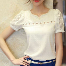 New Fashion Women's Slim Chiffon Tops Lace Short Sleeve T-Shirt Casual Blouse