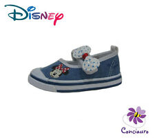 SCARPE BALLERINE BIMBA BAMBINA DISNEY MINNIE VELCRO DENIM TESSUTO CANVAS ESTATE