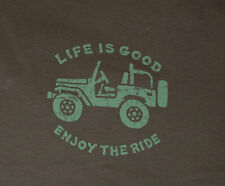 NWT Women's Life is Good Jeep Off Road 4x4 Brown SS Crusher Tee