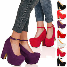 WOMENS SHOES LADIES MARY JANE CHUNKY HIGH HEELS CUT OUT WEDGES PARTY NEW SIZE