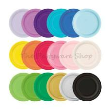 "20 ROUND PAPER PLATES 7"" Solid Colours for Birthday Party BBQs Events Catering"