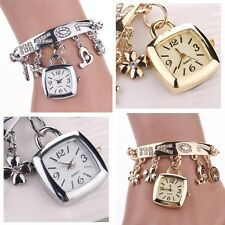 Fashion Women Love Rhinestone Chain Bracelet Wrist Watch Square Watch Tide