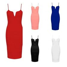 WOMENS LADIES STRAPPY V FRONT RIBBED LOOK CAMI STRETCH PENCIL BODYCON MIDI DRESS