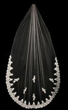 French Lace Sequin Pearl Cathedral Wedding Bridal Veil White or Ivory