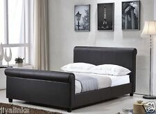 Veneto 4FT6 Double/King Size Bed Faux Leather Sleigh Bed + Memory Foam Mattress
