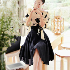 HOT Korean Style Women's Summer Chiffon Blouse Party dress Tops Skirt 2pcs Set