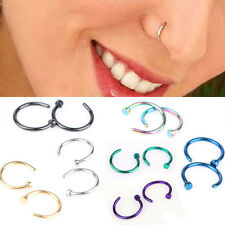 2Pcs Jewelry Surgical Steel Nose Open Hoop Ring Earring Body Piercing Studs