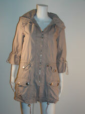 Cinched Pocket Trench Cotton Jacket With Hoodie  M L New