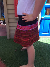 Fair Trade Kids Hmong Ethnic Hill Tribe pleat skirt boho style hand made