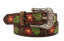 Ariat Western Mens Belt Leather Painted Floral Embossed Brown A1518802