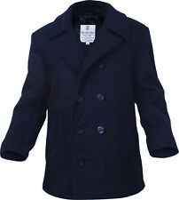 Navy Blue US Navy Type Quilted Wool Peacoat