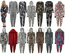 New Womens Ladies Printed Onesie Jumpsuit One Piece Hooded Front Zip Up Playsuit