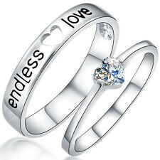 Endless love Crystal Silver Couple Rings Wedding Band His and Her Promise Rings