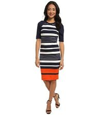 Michael Kors Women's Dress Helsinki Stripe New Navy Mandarin Knit NWT $160.00