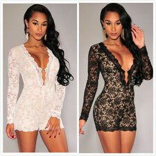 Women Lace Long Sleeve Bodycon Shorts Jumpsuit Rompers Night Party Clubwear S/M