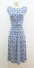 Jessica Howard Royal Blue Ivory Floral Stretch Jersey A-line Sleeveless Dress