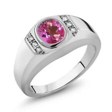 1.36 Ct Pink Mystic Topaz White Created Sapphire 925 Sterling Silver Men's Ring