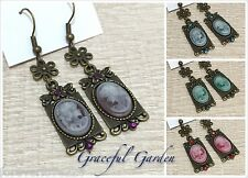 ER2668 Graceful Garden Vintage Victorian Style Lady Queen Cameo Crystal Earrings