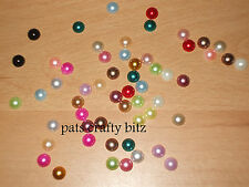 75 Acrylic Flat Back Pearl Beads Gems 7mm Various Colours