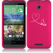 For HTC Desire 510 Rubber Hard Snap On 2 Piece Case Cover Heart Love Ice Skating