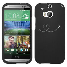 For HTC ONE M8 M9 Rubber Hard 2 Piece Case Cover Heart Love Travel Airplane