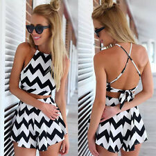 Hot Two Piece Women Sexy Backless Summer Chiffon Playsuit Romper Shorts Jumpsuit