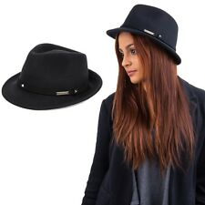 Men Women 100% Wool Panama Jazz Fedora Trilby Narrow Brim Hat Cap Black